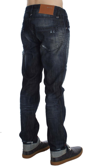 Load image into Gallery viewer, Blue Cotton Regular Straight Fit Jeans
