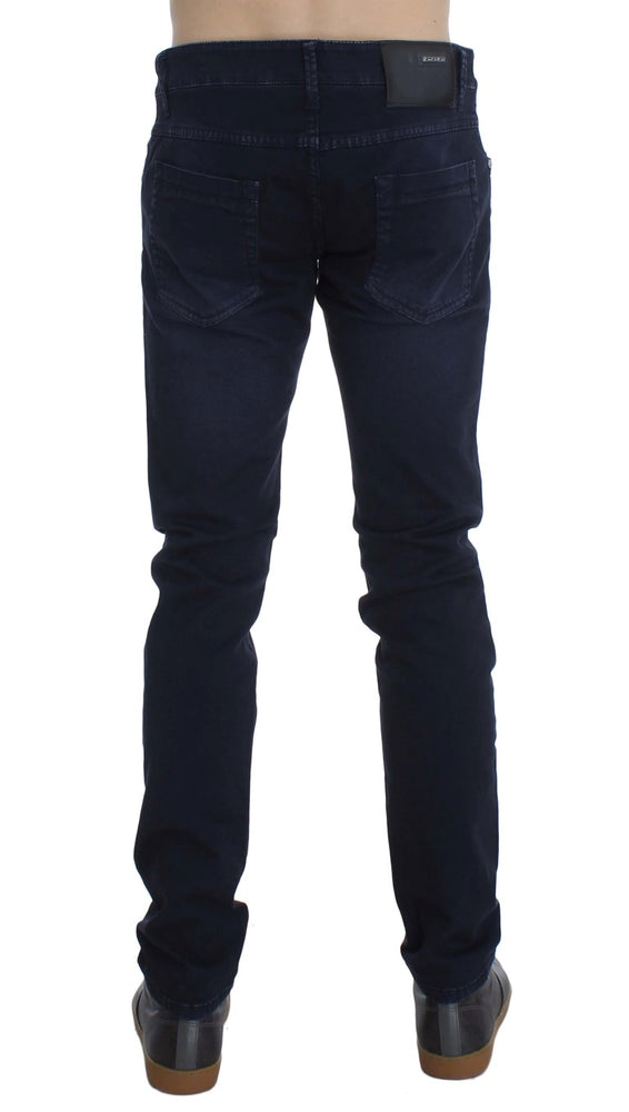 Load image into Gallery viewer, Dark Blue Cotton Stretch Slim Skinny Fit Jeans