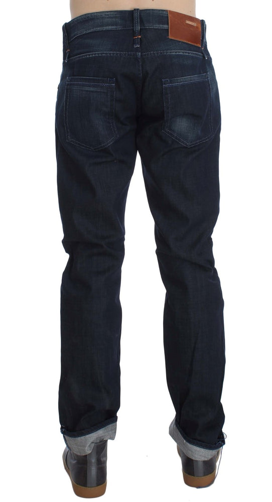 Load image into Gallery viewer, Blue Wash Cotton Regular Straight Fit Jeans
