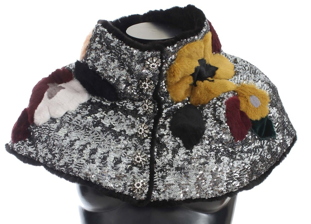 Load image into Gallery viewer, Silver Sequined Floral Weasel Fur Shoulder Scarf Wrap