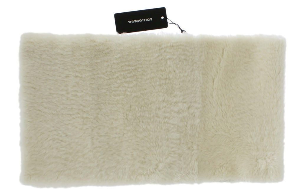 Load image into Gallery viewer, White Lambskin Fur Silk Scarf