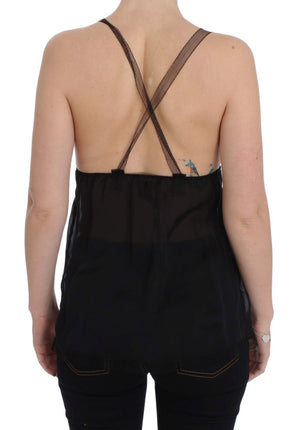 Load image into Gallery viewer, Black Silk Camisole Top Blouse