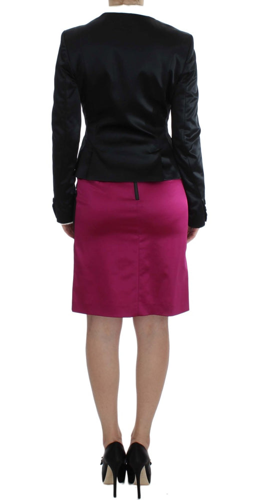 Load image into Gallery viewer, Black Pink Two Piece Suit Skirt & Blazer