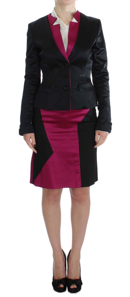 Black Pink Two Piece Suit Skirt & Blazer