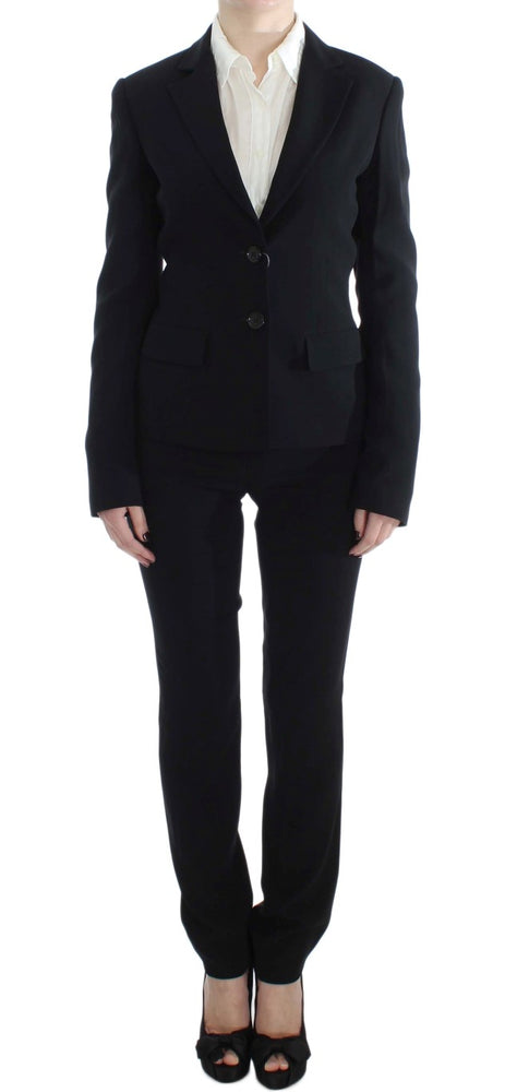 Black Two Button Two Piece Suit