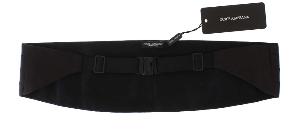 Load image into Gallery viewer, Black Mens Waist Wide Belt Silk Cummerbund - Go for Brands