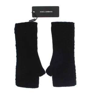 Load image into Gallery viewer, Black Cashmere Crystal Finger Less Gloves