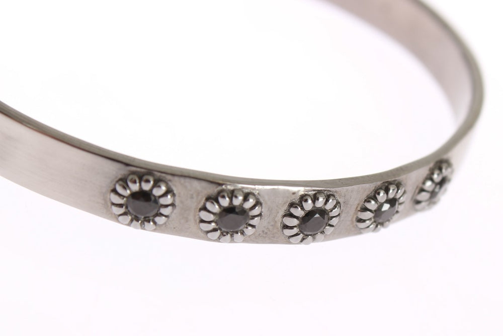 Load image into Gallery viewer, Black Crystal 925 Silver Bangle Bracelet