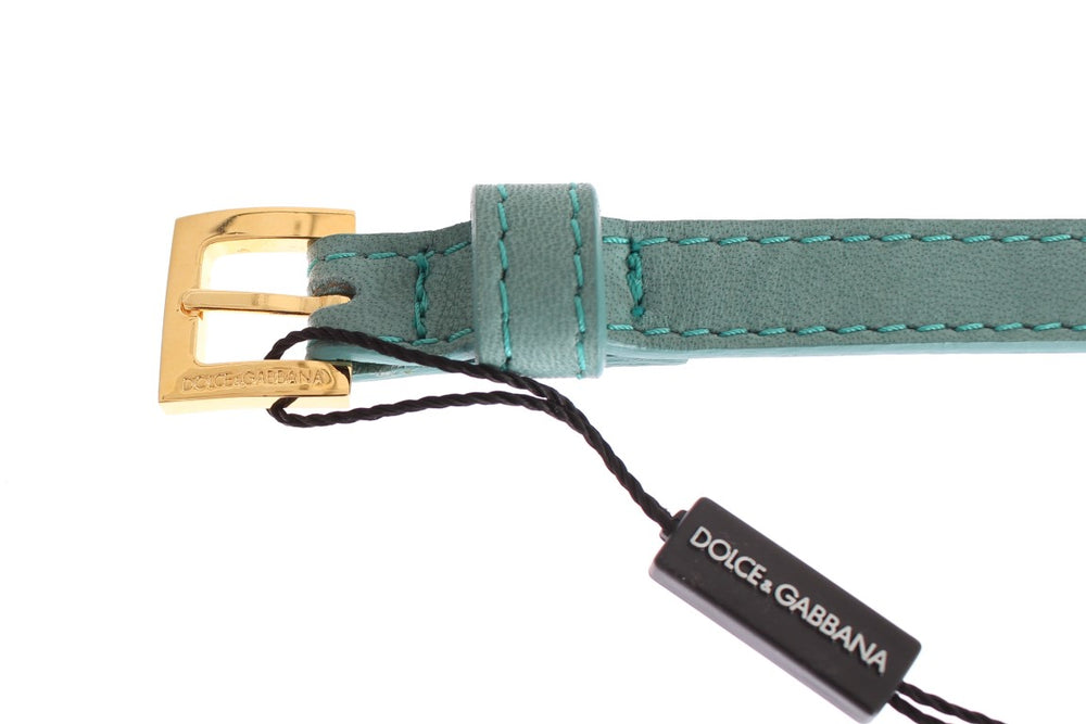 Load image into Gallery viewer, Green Leather Gold Buckle Logo Belt