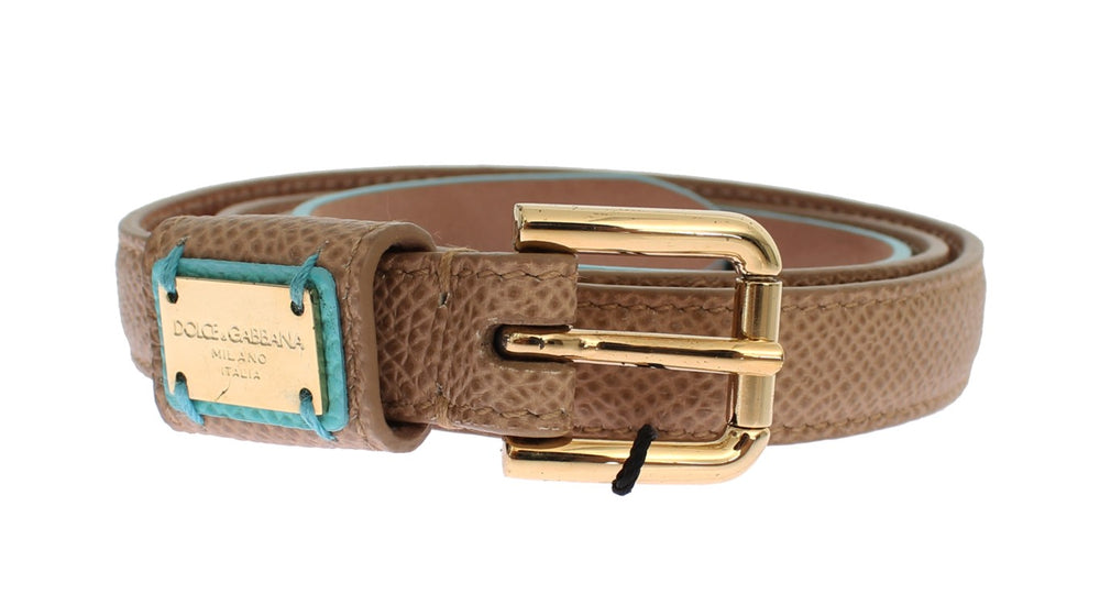 Load image into Gallery viewer, Brown Leather Gold Buckle Logo Waist Belt