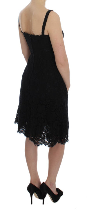 Load image into Gallery viewer, Black Floral Lace Shift Knee Length Dress