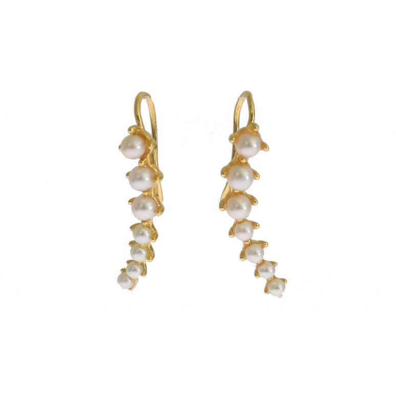 Load image into Gallery viewer, White Pearl Hook Gold 925 Silver Earrings