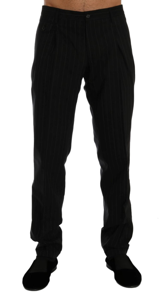 Load image into Gallery viewer, Black Striped Cotton Dress Formal Pants