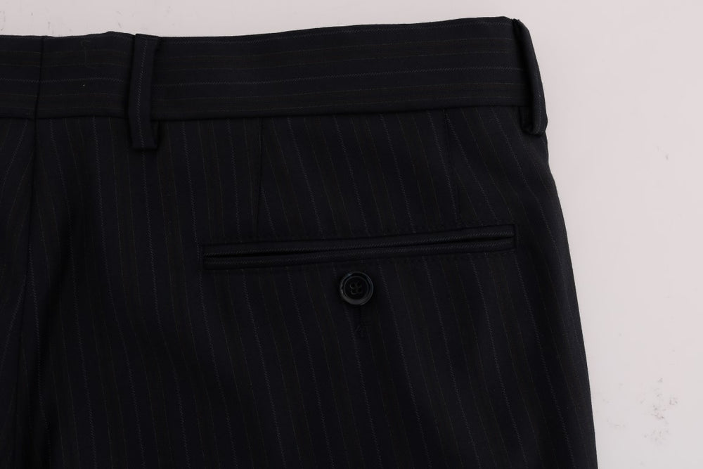Load image into Gallery viewer, Blue Striped Wool Stretch Formal Pants