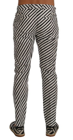 Load image into Gallery viewer, White Black Striped Cotton Slim Fit Pants