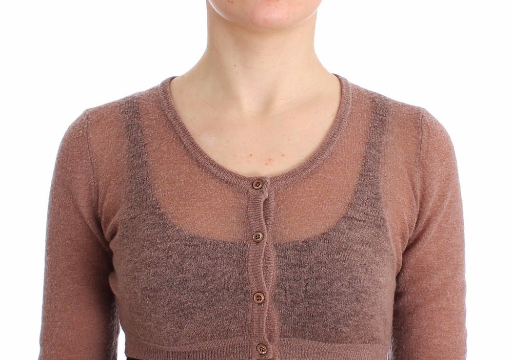 Load image into Gallery viewer, Lingerie Brown Knit Cropped Sweater Cardigan
