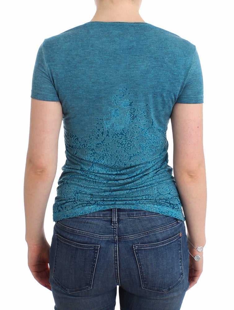 Load image into Gallery viewer, Blue Rayon Printed T-shirt Blouse Top