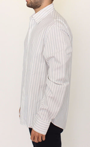 Load image into Gallery viewer, White Black Striped Regular Fit Casual Shirt