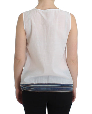 Load image into Gallery viewer, White Blue Top Blouse Tank Shirt Sleeveless