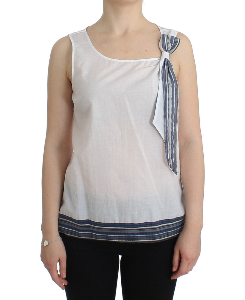 White Blue Top Blouse Tank Shirt Sleeveless