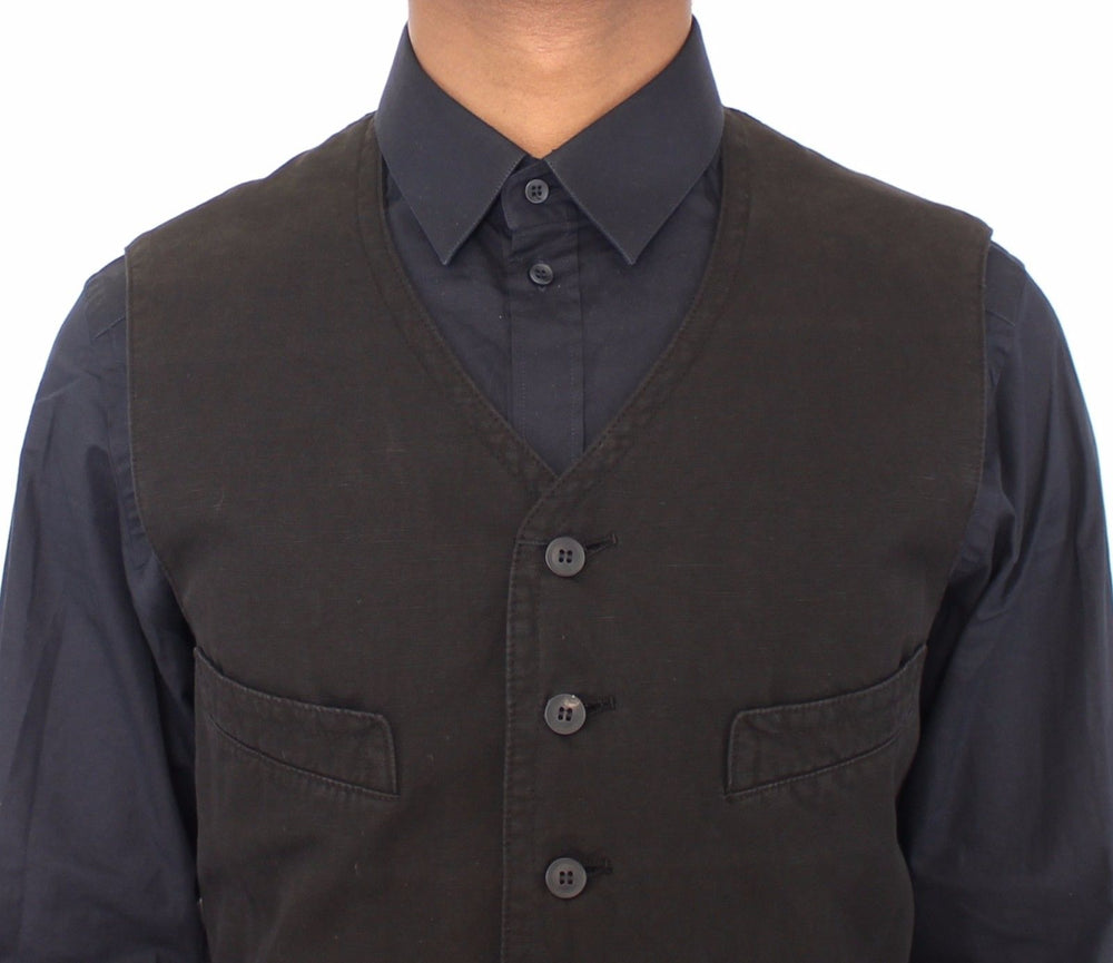 Load image into Gallery viewer, Black Flax Cotton Dress Vest Blazer