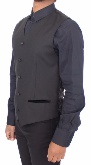 Load image into Gallery viewer, Black Wool Silk Stretch Dress Vest Blazer