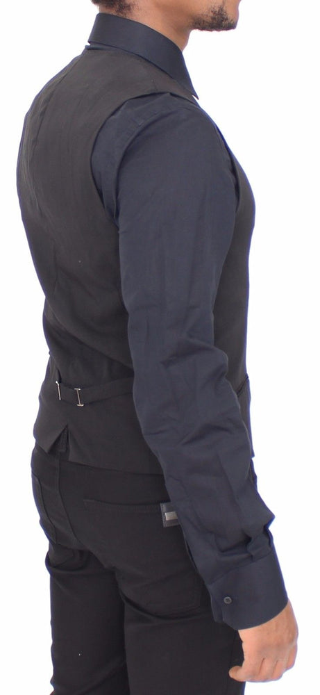 Load image into Gallery viewer, Black Wool Formal Dress Vest Gilet Jacket