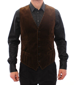 Load image into Gallery viewer, Brown Velvet Single Breasted Vest Gilet