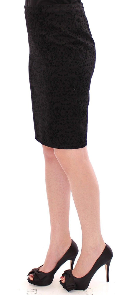 Load image into Gallery viewer, Black Stretch Straight Pencil Skirt