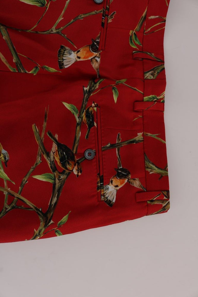 Load image into Gallery viewer, Red Silk Bird Print Dress Pants