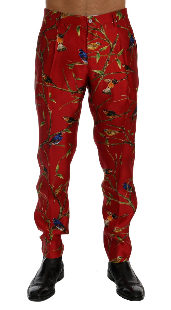 Red Silk Bird Print Dress Pants