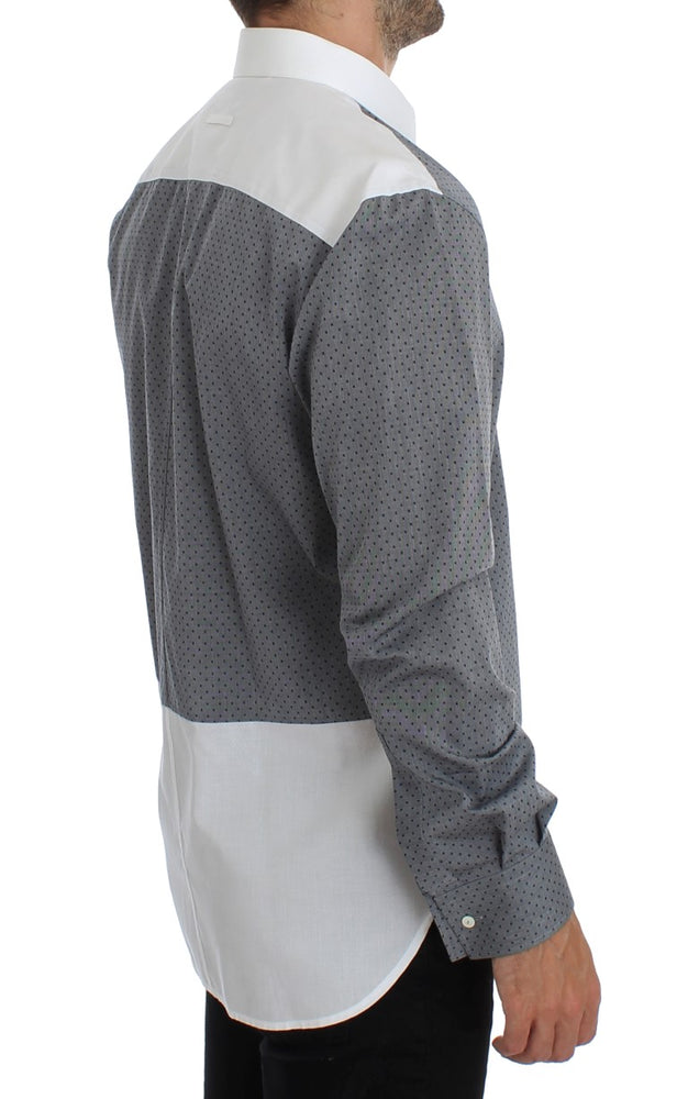 Load image into Gallery viewer, White Gray Dotted Cotton Casual Shirt