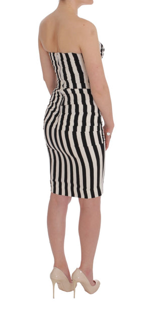 Load image into Gallery viewer, Black White Striped Silk Stretch Dress
