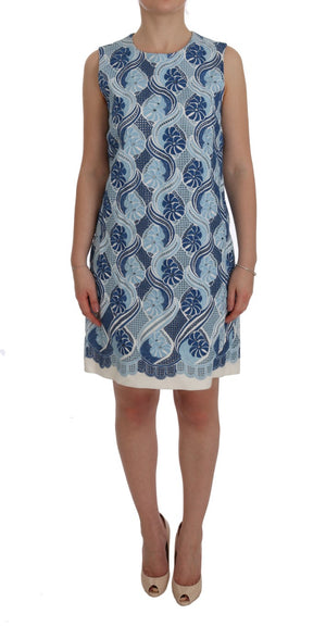 Load image into Gallery viewer, Blue White Floral Ricamo Shift Dress
