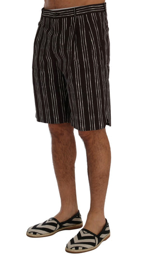 Load image into Gallery viewer, Bordeaux White Striped Hemp Casual Shorts