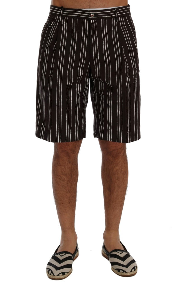 Bordeaux White Striped Hemp Casual Shorts