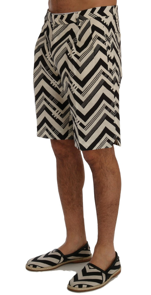 Load image into Gallery viewer, White Black Striped Cotton Linen Shorts