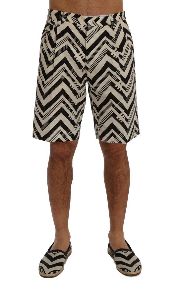 White Black Striped Cotton Linen Shorts