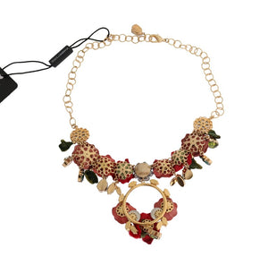 Load image into Gallery viewer, Gold Brass Roses Floral Crystal Necklace