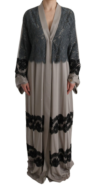 Load image into Gallery viewer, Gray Floral Applique Lace Kaftan Dress