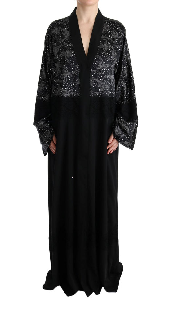 Load image into Gallery viewer, Black White Floral Silk Kaftan Dress