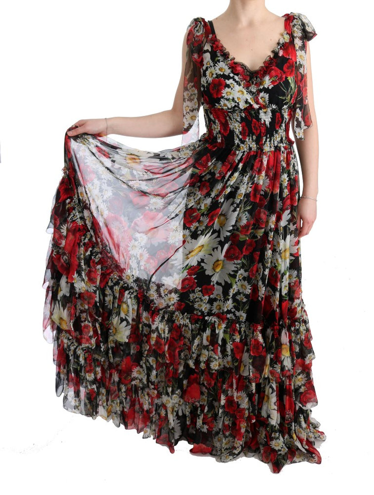 Load image into Gallery viewer, Multicolor Silk Floral Shift Long Maxi Dress