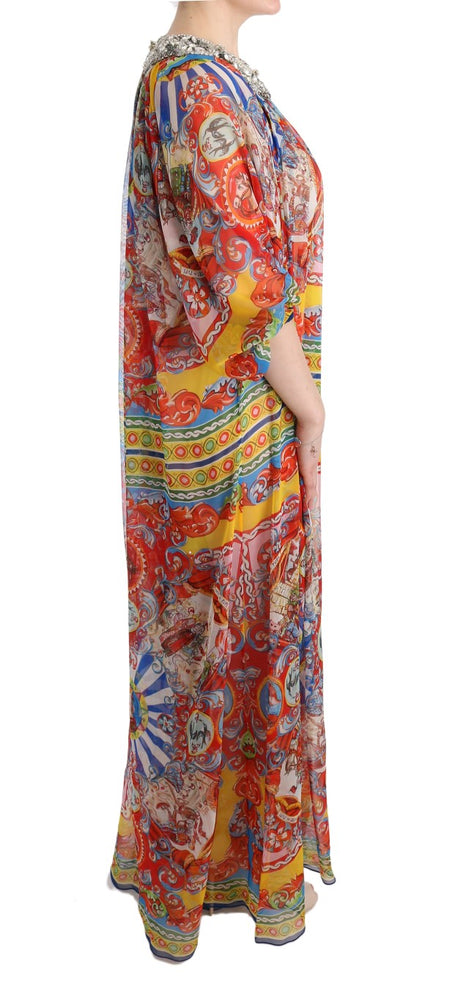 Load image into Gallery viewer, Multicolor Silk Carretto Crystal Tunic Dress