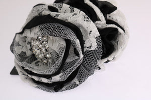 Load image into Gallery viewer, Black White Floral Lace Crystal Hair Claw