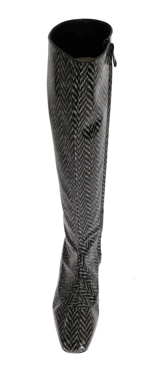 Load image into Gallery viewer, Black Gray Chevron Leather Boots