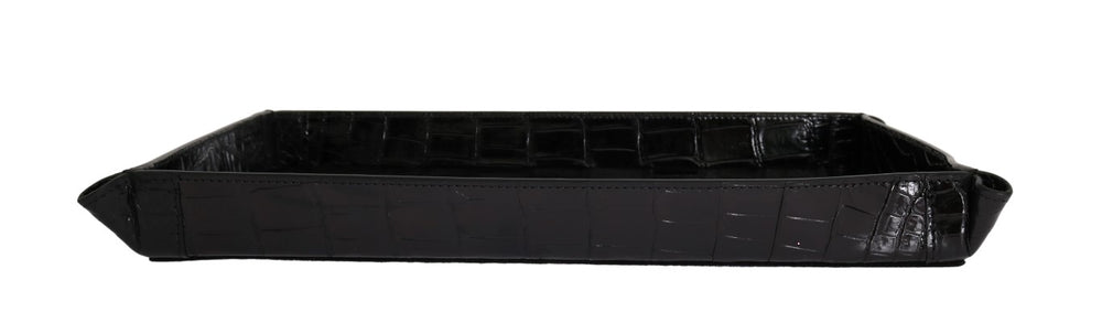 Black Crocodile Skin Key Tray Plate - Go for Brands