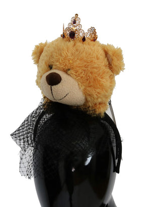 Load image into Gallery viewer, Brown Teddy Bear Gold Crystal Diadem