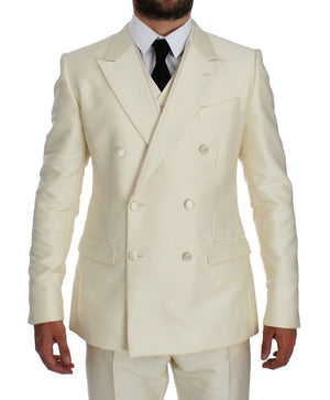 Load image into Gallery viewer, White Slim Double Breasted 3 Piece Suit