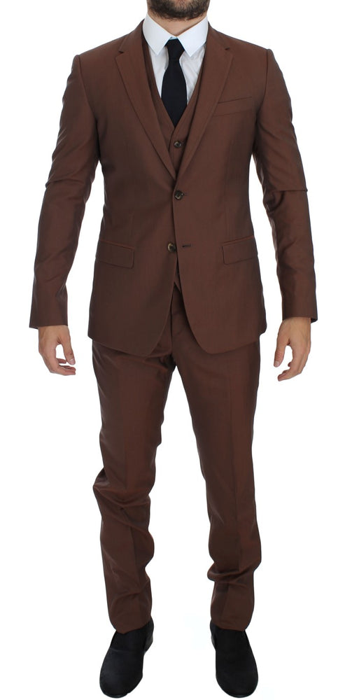 Brown Silk Wool 3 Piece Slim Fit Suit