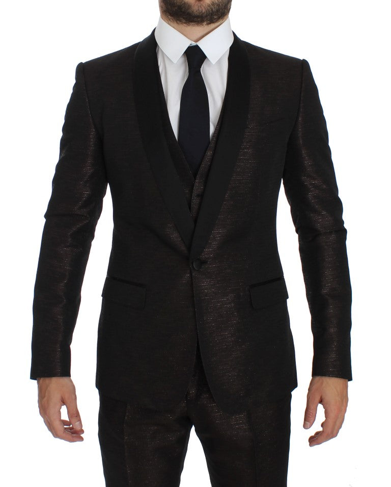 Load image into Gallery viewer, Brown Black Shiny 3 Piece Slim Suit Tuxedo